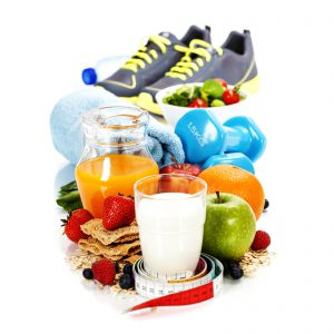 Different tools for sport and diet food  on white background
